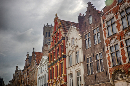 Historical facades in Bruges in Belgium