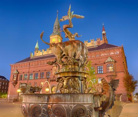 Dragon fountain and city hall in Copenhagen
