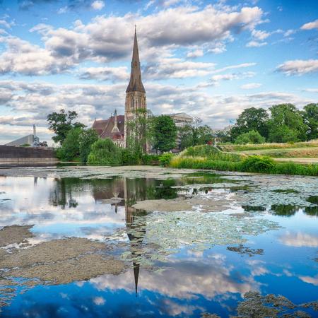 Historical church in park in Copenhagen Stock Photo