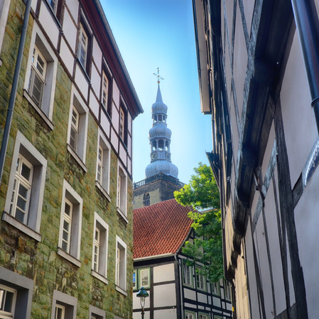 Narrow road in the historical center of Soest in Germany