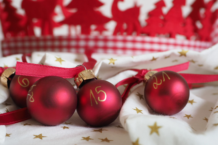Self-made advent calendar with christmas tree balls