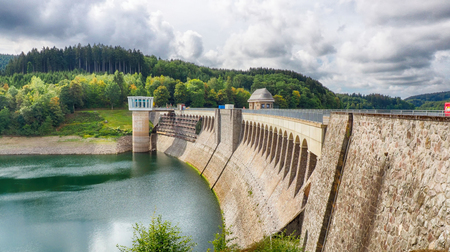 Barrage at Lake Bigge in the Sauerland region in Germany Stock Photo