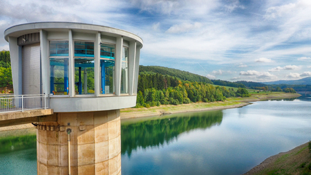 Lister from the Lister barrage Dam in the Sauerland region Stock Photo