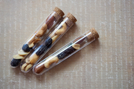 Trail mix in test tubes