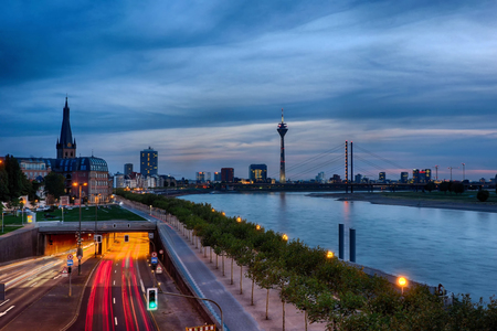 Duesseldorf by the river Rhine Stock Photo
