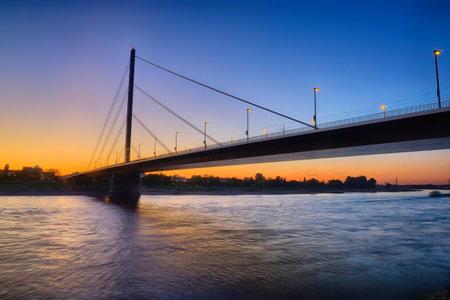 Bridge to Oberkassel across the Rhine in Duesseldorf Editorial