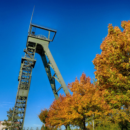 Historical coal mine headframe in Oberhausen