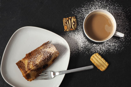 Backforest cake with cookies and coffee Stock Photo