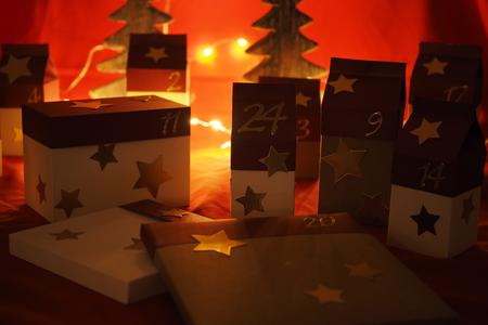 Hand-made advent calendar from cardboard