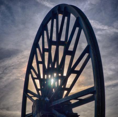 Winding tower wheel of a historic coal mine in Waltrop Stock Photo