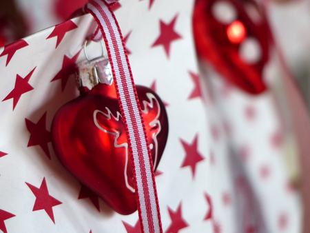 Christmas gift wrappings with ribbons and Christmas tree balls