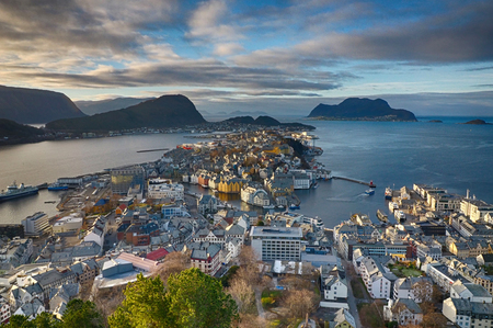 View across Alesund Norway from Aksla mountain