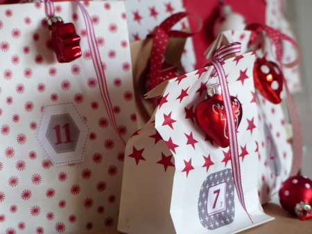 Wrapped and decorated christmas presents