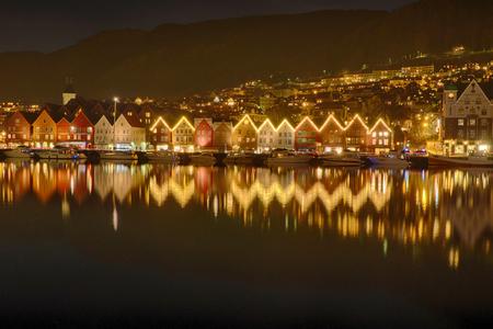 Christmas illumination in Bergen in Norway Stock Photo