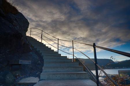 Stairway to Aksla mountain in Alesund, Norway