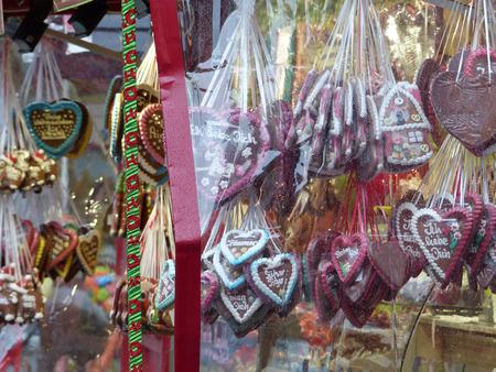 Gingerbread hearts at the christmas market
