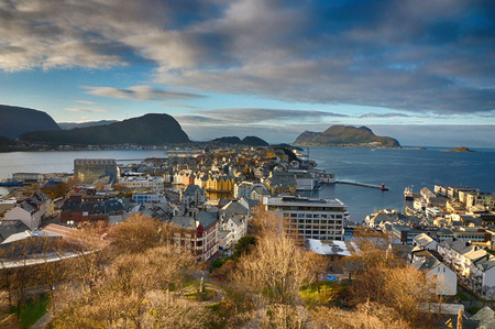 View over Alesund in Norway Stock Photo