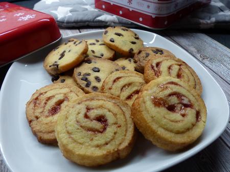 Chocolate and raspberry cookies for christmas