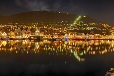 Panoramic view of mountains in Norway at night