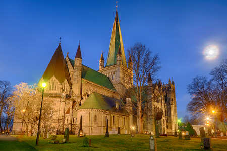 Historical pilgrim cathedral in Trondheim in Norway