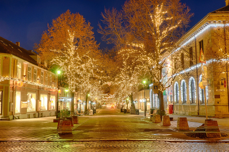Winter and christmas lights at Trondheim in Norway