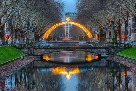 Illuminated brigde on the shopping high street Duesseldorf in Germany
