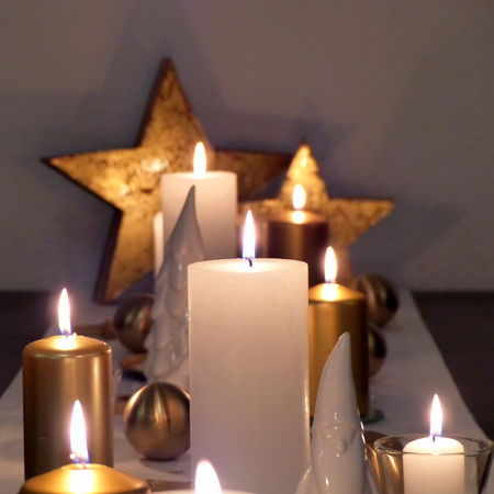 Christmas table decoration with candles