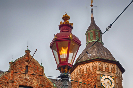 Old latern at the historical city hall of Duesseldorf in Germany