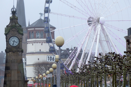 Public place by the river Rhine in the historical center of Duesseldorf in Germany