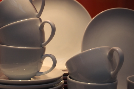 Porcelain cups and plates Stock Photo