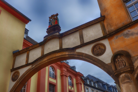 Archway in the medieval center of Treves in Germany Stock Photo