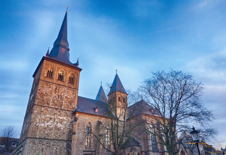 Historical church by the marketplace in the old town of Ratingen