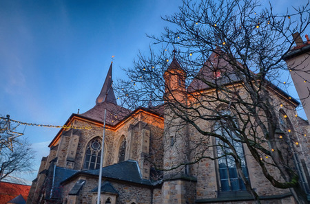 Church in the historical center of Ratingen in Germany Stock Photo