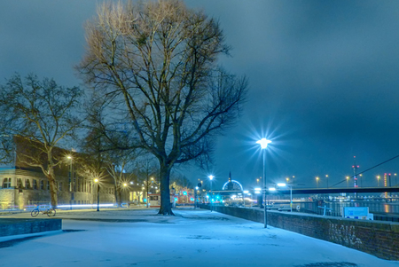 Winter night in Duesseldorf in Germany