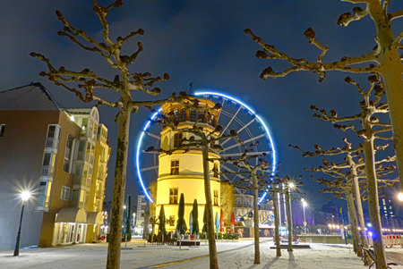 Winter in the old town of Duesseldorf in Germany