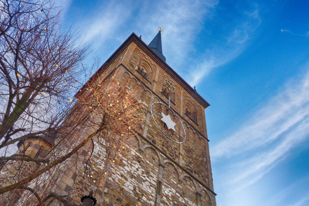 Old church tower in the historical center of Ratingen in Germany Stock Photo