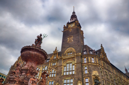 Historical fountain and city hall in Wuppertal