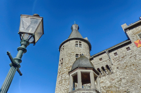 Lantern and castle in the historical center of Stolberg