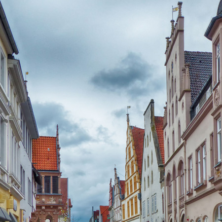 Facades in the historical center of Herford