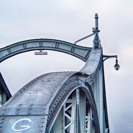 Detail of a historical rotating bridge in the harbor of Krefeld