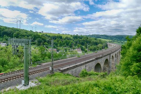 Vantage point at the historical railway viaduct in Altenbeken 스톡 콘텐츠