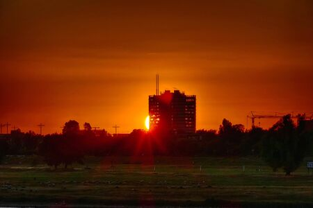 Sunset over the Rhine meadows in Duesseldorf 스톡 콘텐츠