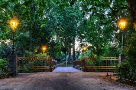 Bridge in a public park in Duesseldorf 스톡 콘텐츠