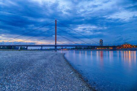 River Rhine and bridge in Dusseldorf