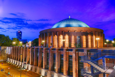 Concert hall in Duesseldorf Germany at night