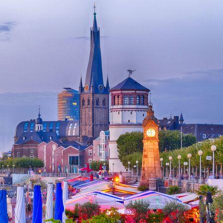 Rhine promenade in the historical center of Duesseldorf