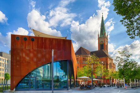 Historical church and new building in the center of Duesseldorf in Germany 스톡 콘텐츠