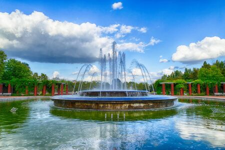 Round fountain in a public park in the north of Duesseldorf