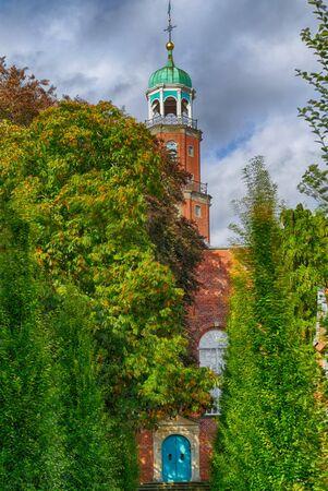 Historical brick church in Leer 스톡 콘텐츠