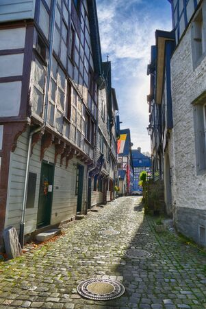 Old road and half timber houses in the historical center of Monschau 스톡 콘텐츠